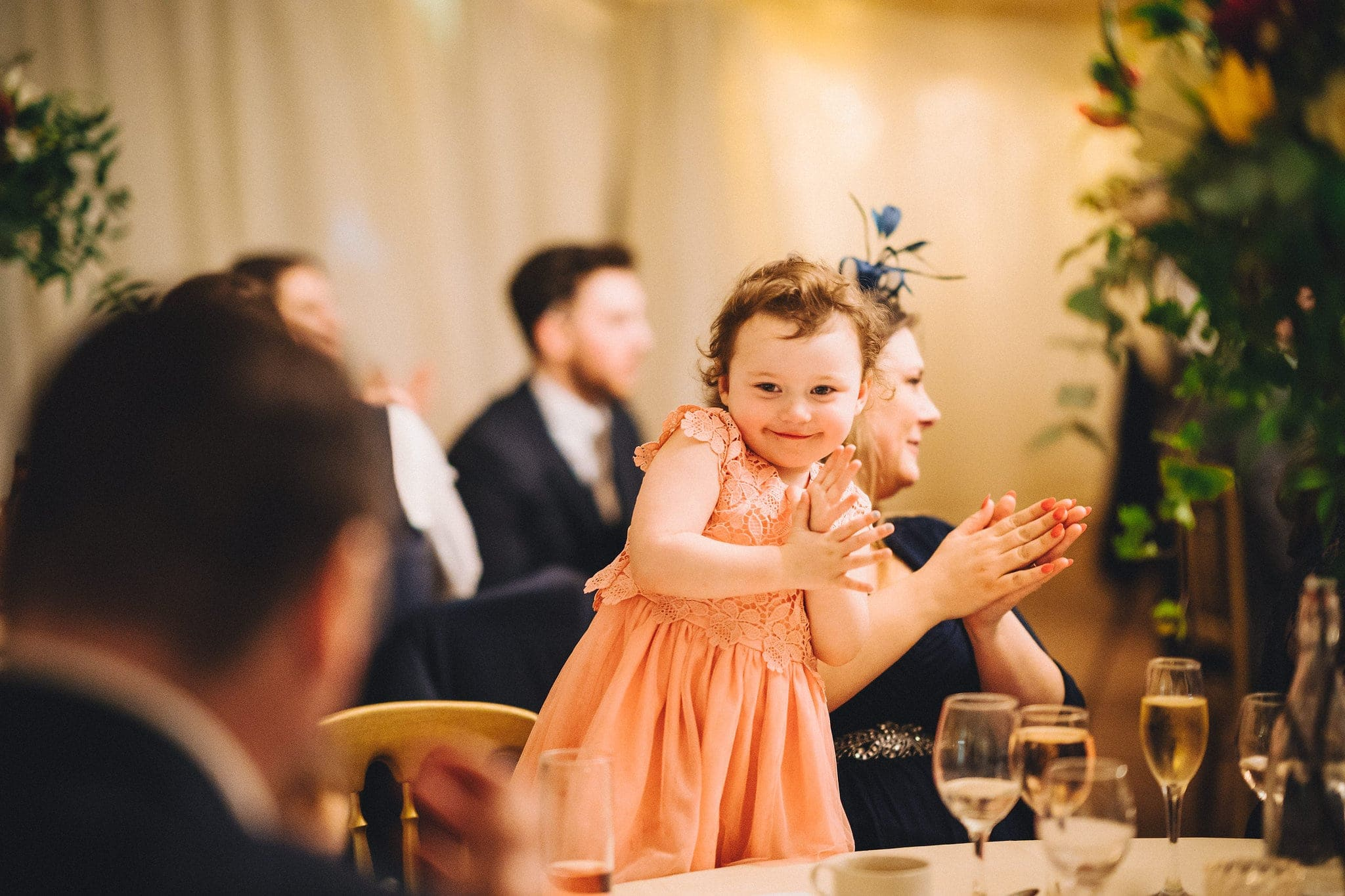 Child claps during speeches