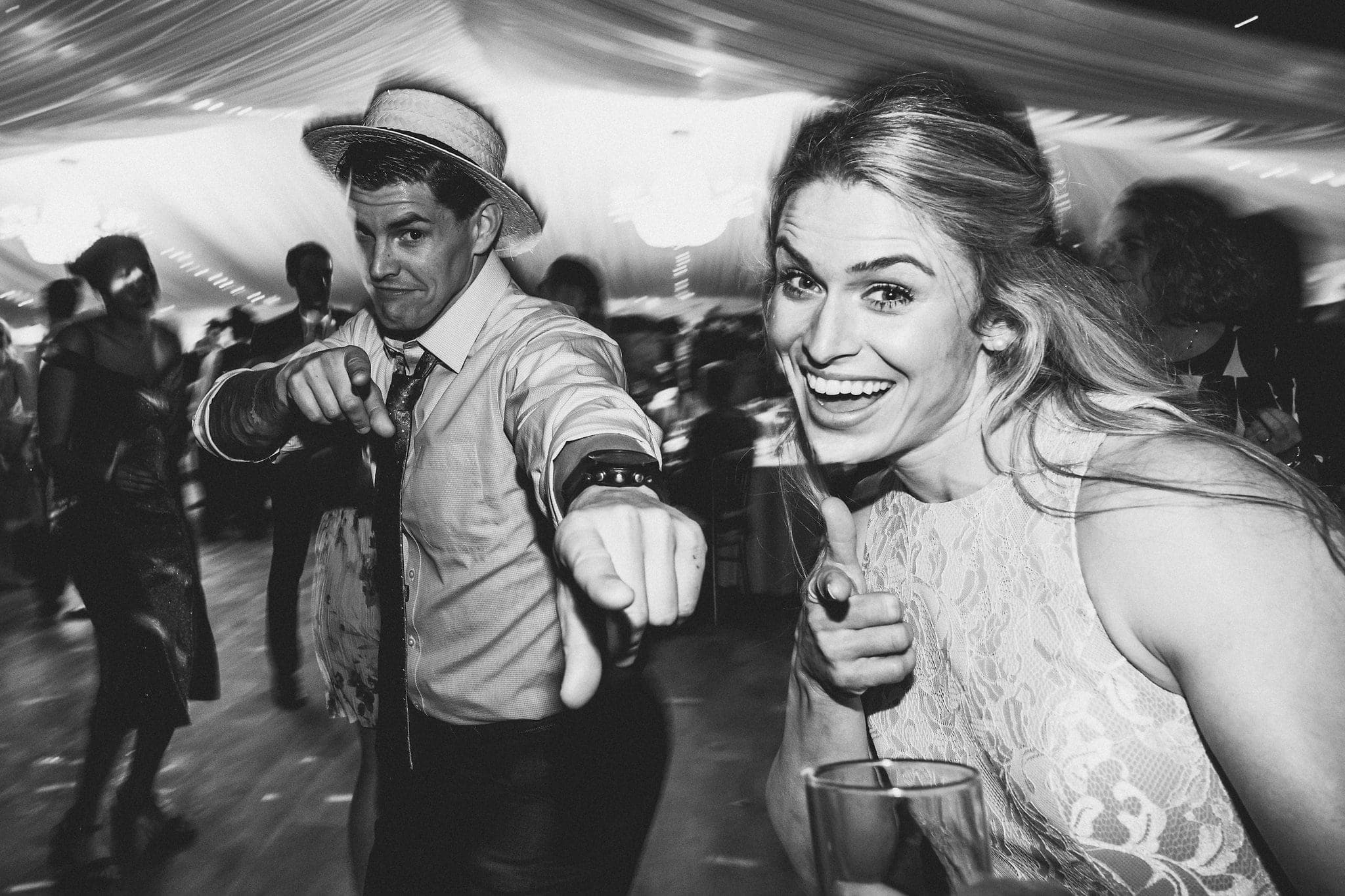 Wedding guests dancing at Hedingham Castle