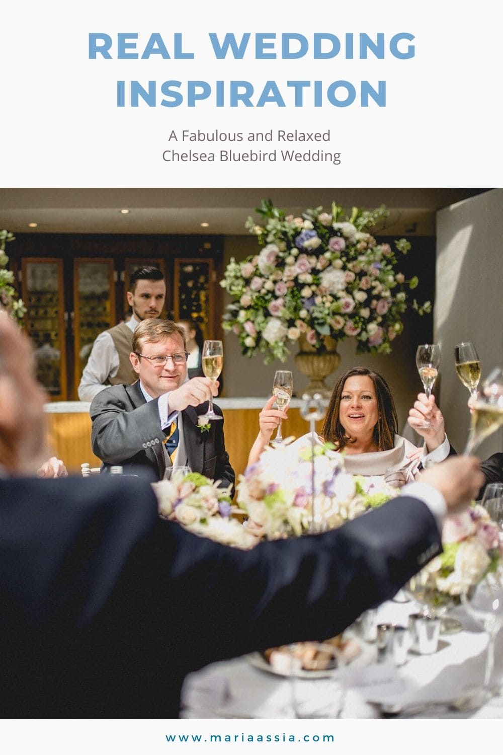 Bride and groom cheering their wedding guests at the Bluebird in Chelsea, London