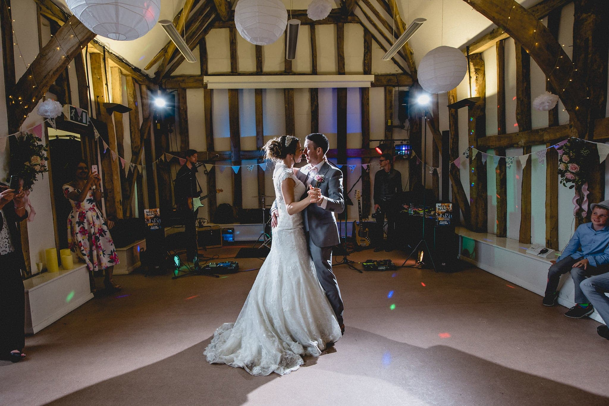 Bride and groom on dancefloor