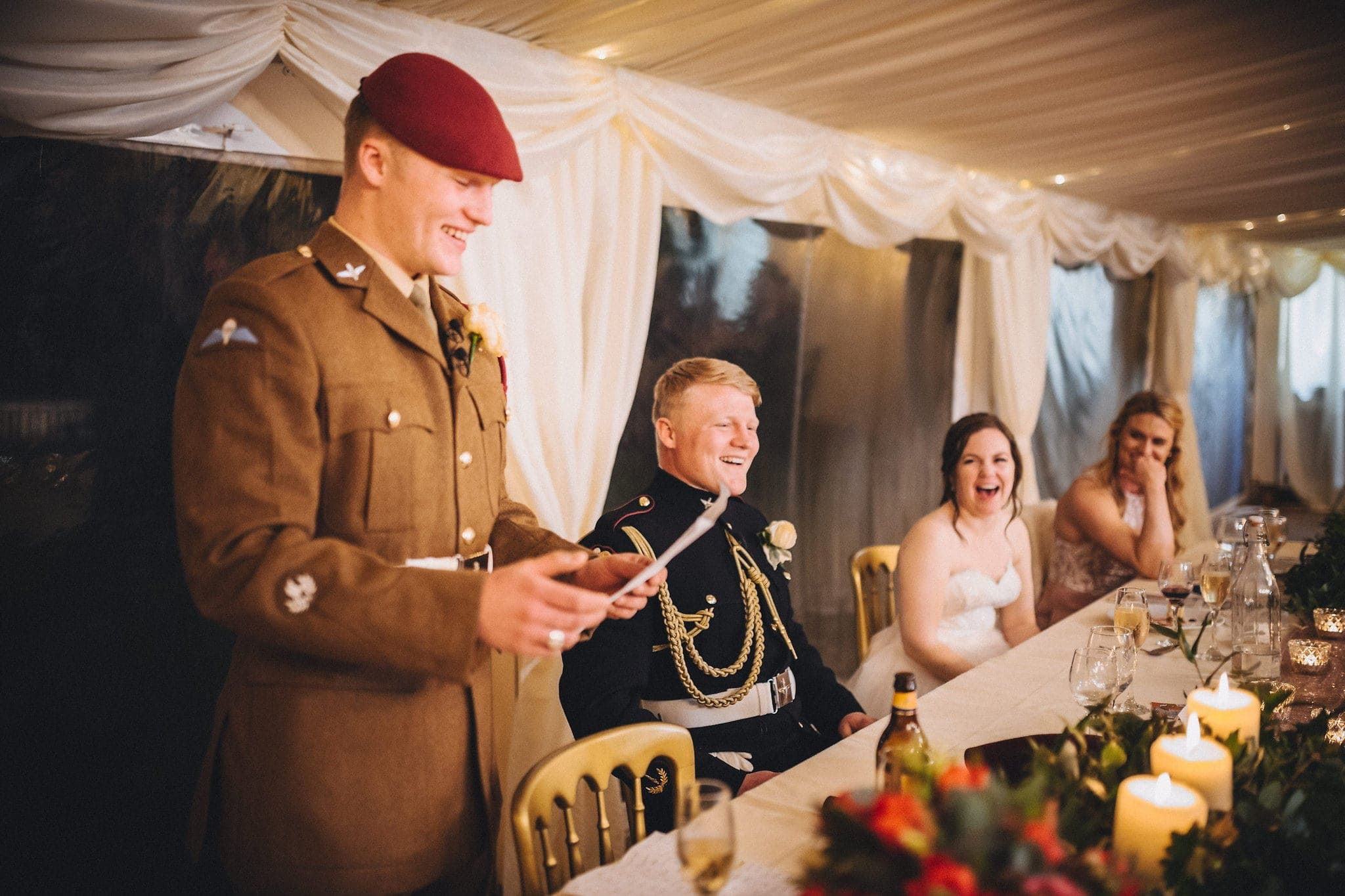 Best man in military uniform gives speech