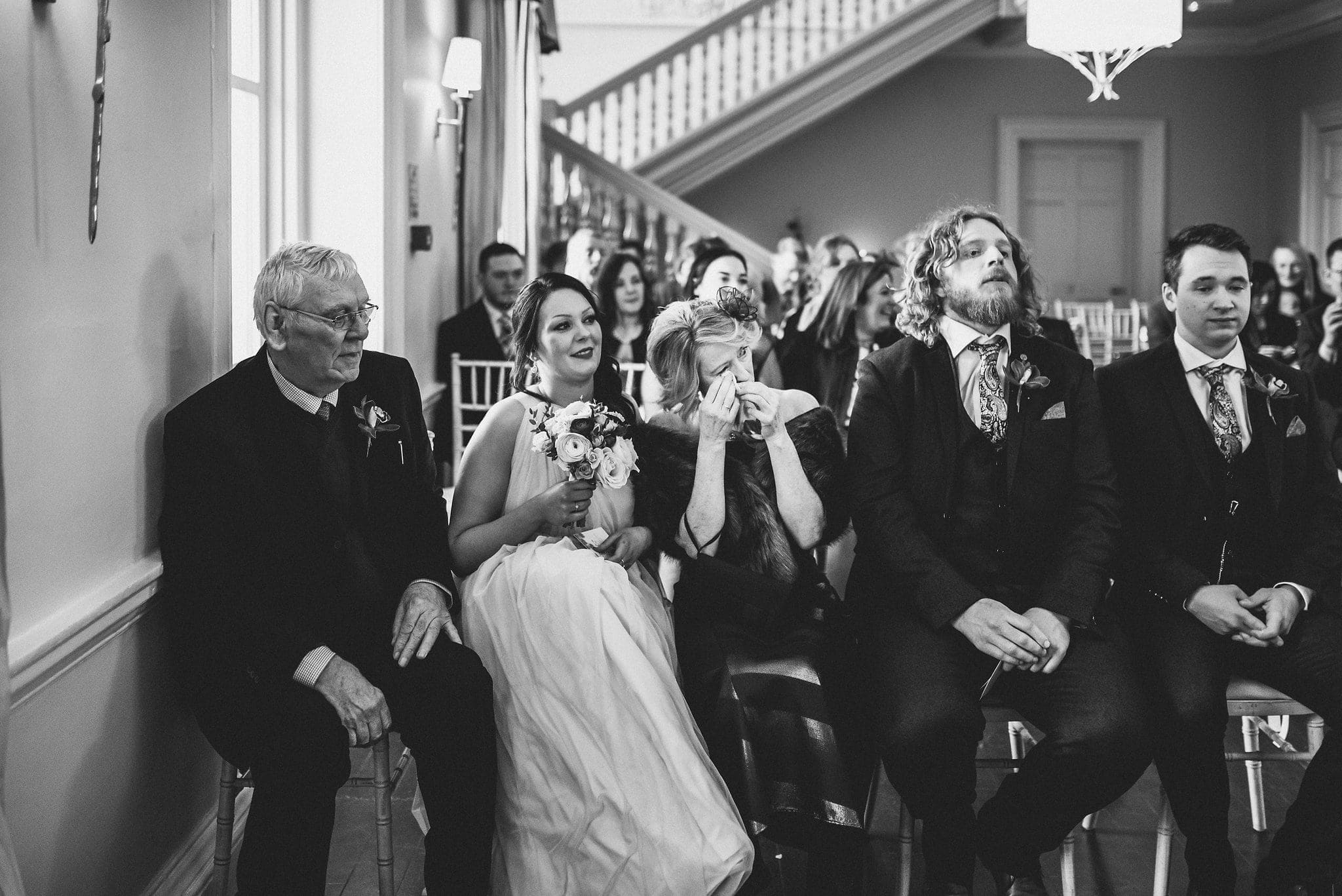 Guests get emotional during wedding ceremony at Morden Hall