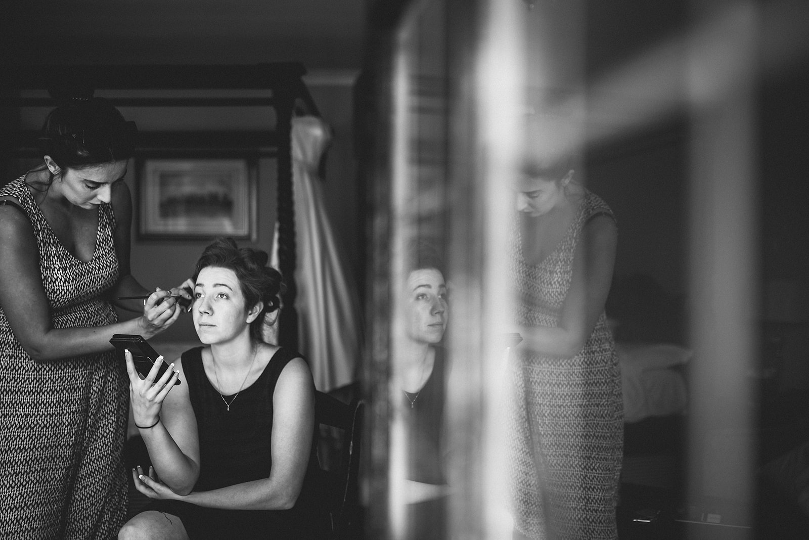 Bride's hair and make up being done at the Hever Hotel Bridal Suite