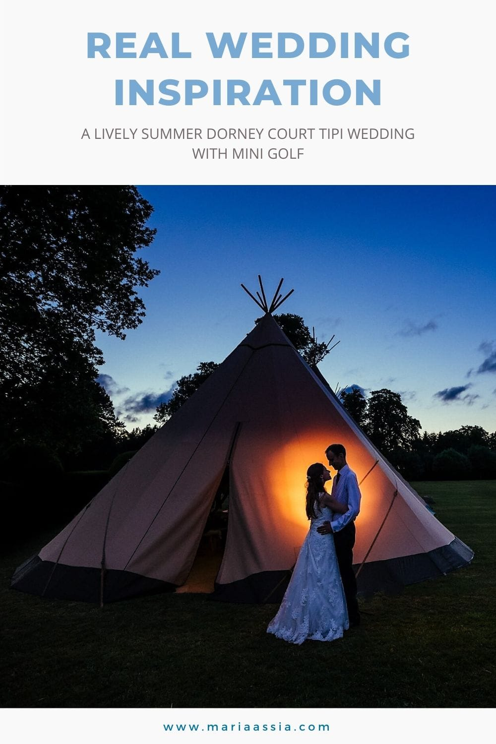 Bride and groom hug in front of their wedding tipi at sunset at Dorney Court