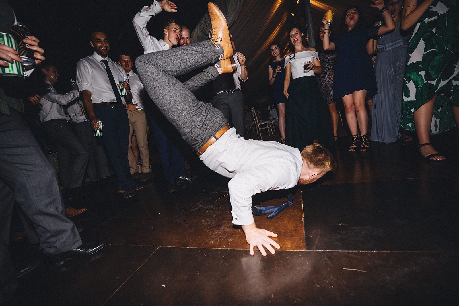 Wedding guest breakdancing