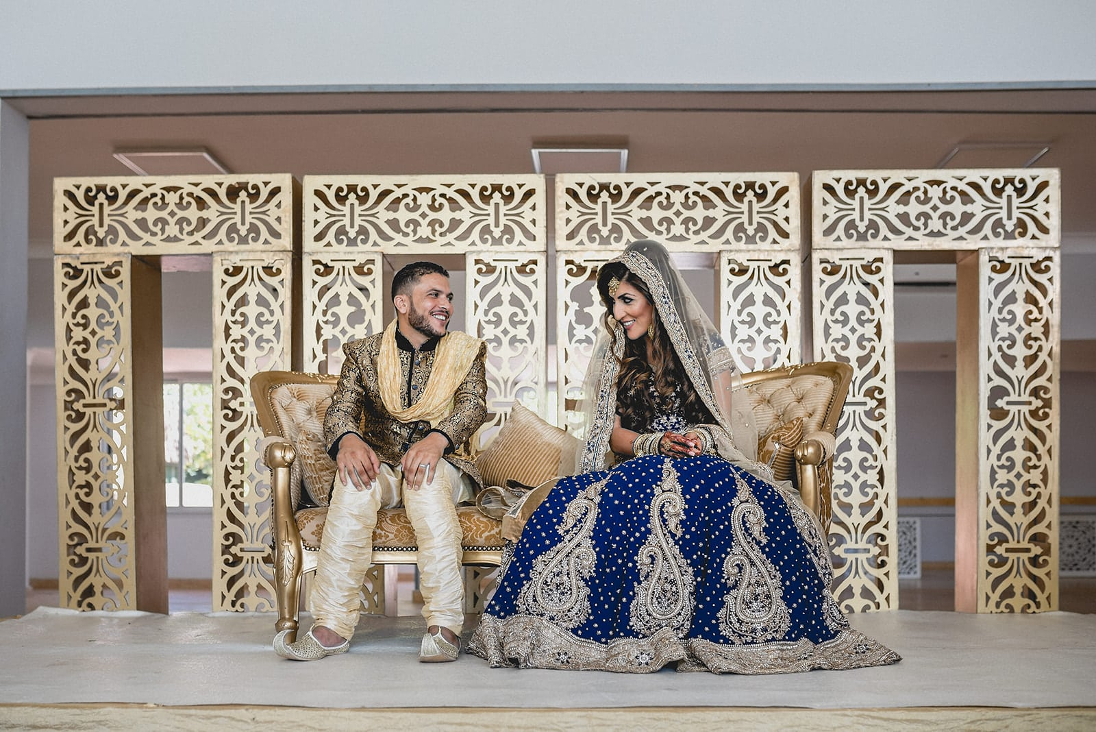 Bride and groom have a first look at each other at their Traditional Moroccan Destination Wedding