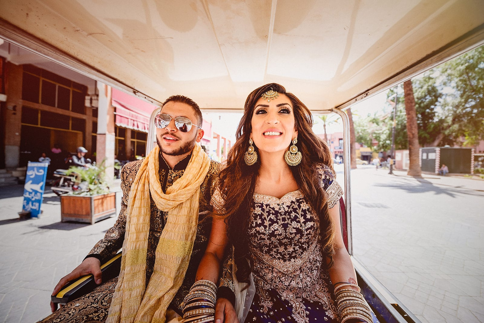Moroccan Bride and Groom taking a rickshaw to Djemaa el Fna