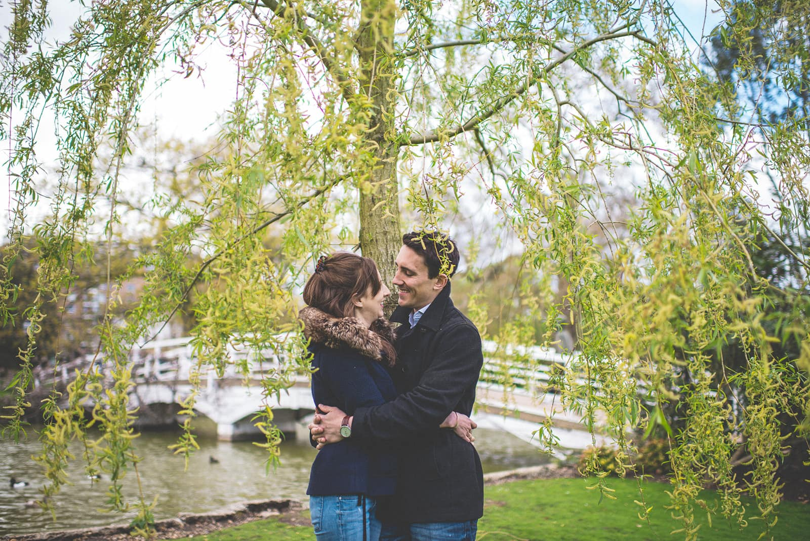 Engaged couple hugging under a weeping willow