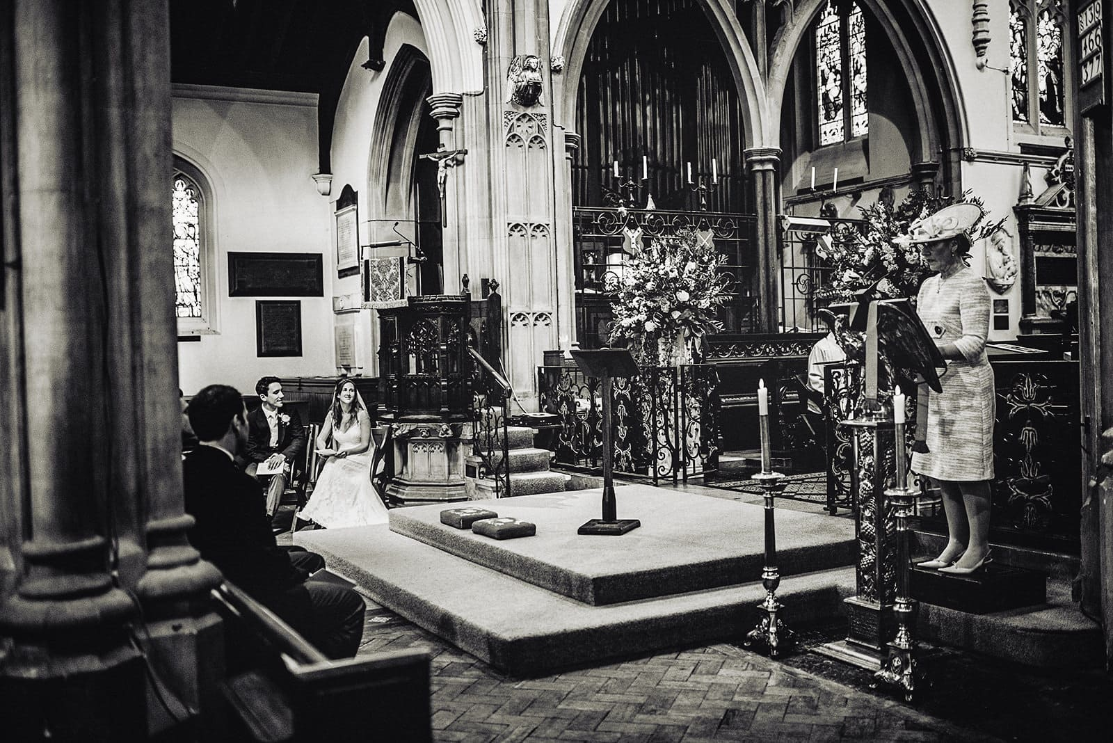 Wedding ceremony reading at All Saints Church in Fulham
