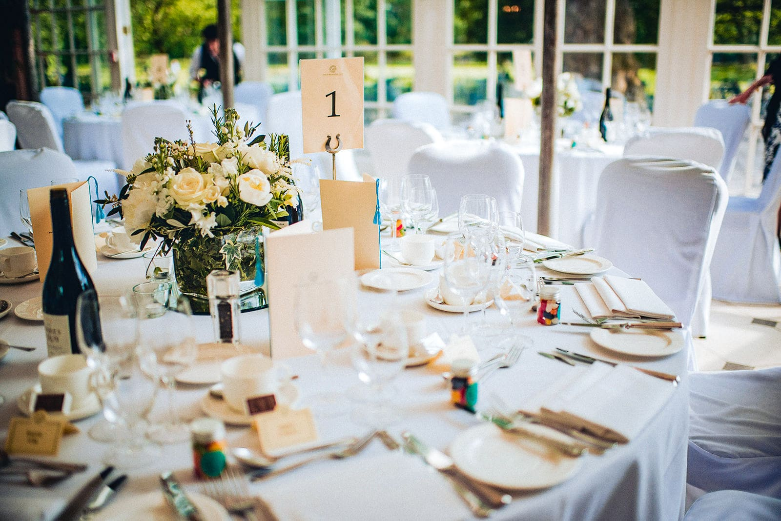 The Hurlingham Club's Terrace Room set for a summer wedding breakfast
