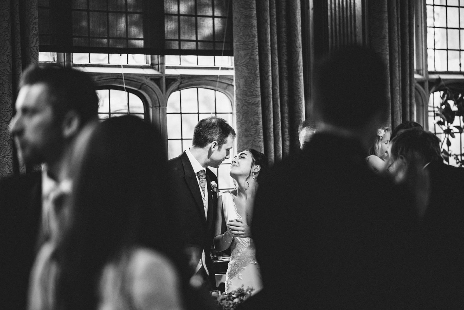 Bride and Groom kissing at the Great Hall of Two Temple Place
