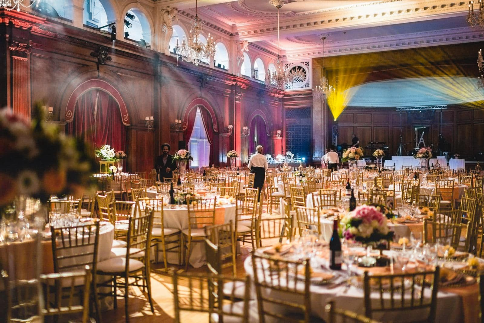 Porchester Hall decorated in a golden wedding theme