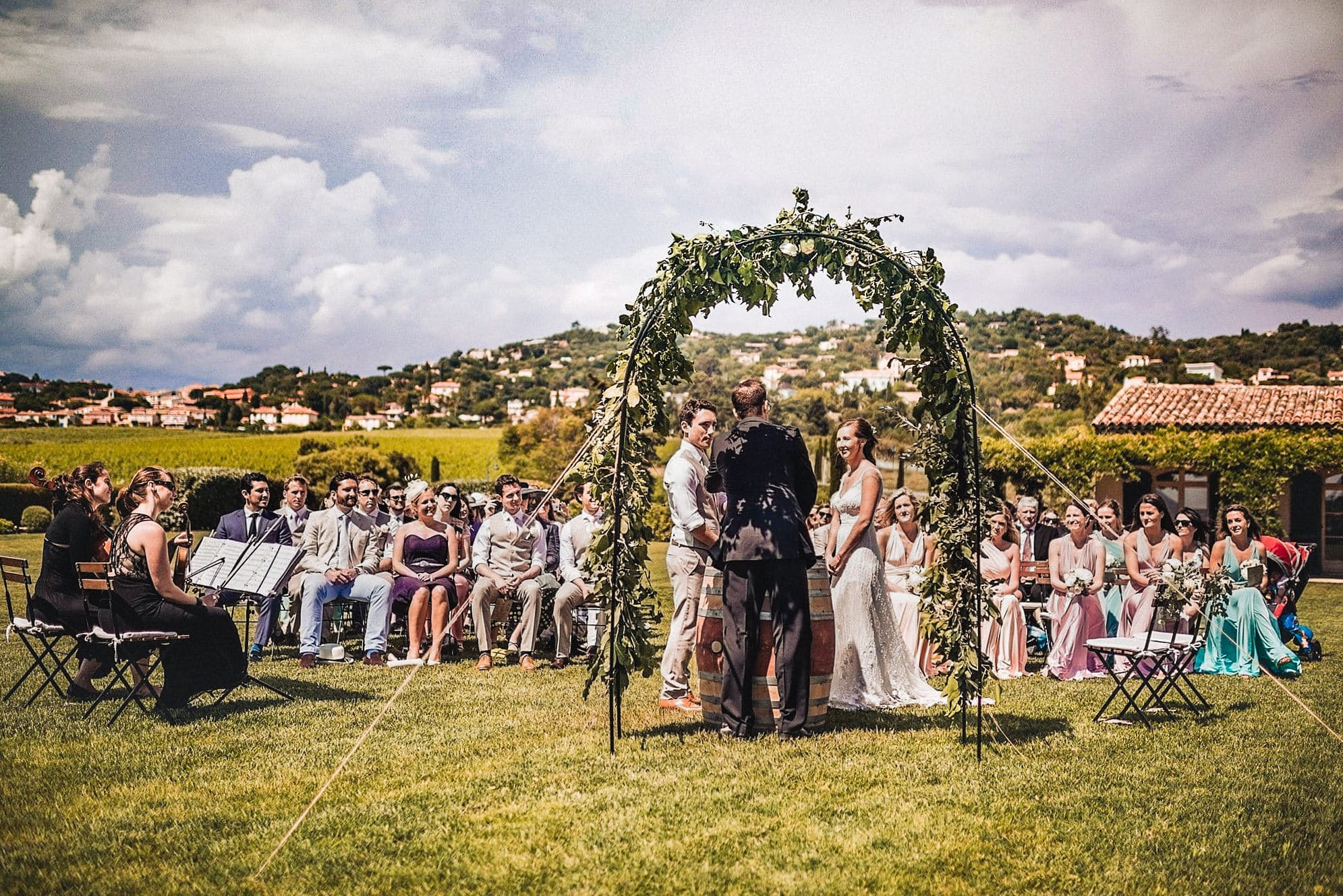 Outdoor Wedding ceremony at a South of France Destination Wedding