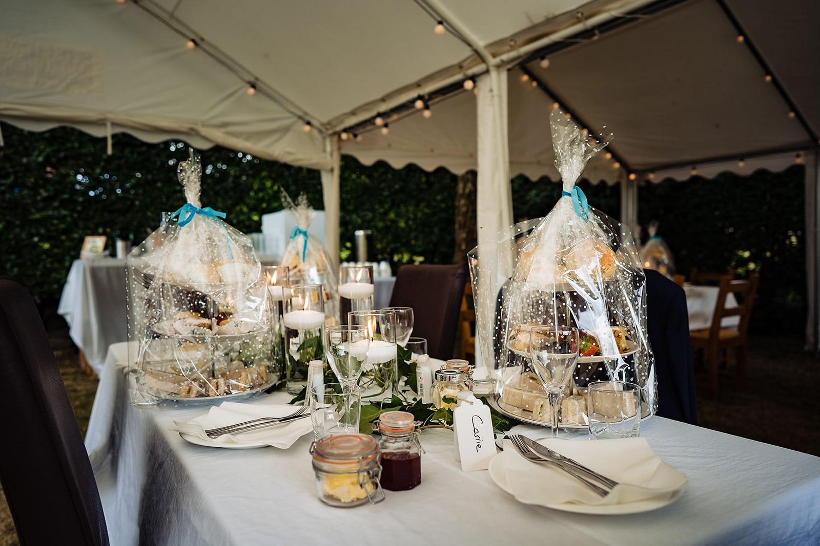 High tea trays at a socially distanced English Garden Covid Micro Wedding in Kent