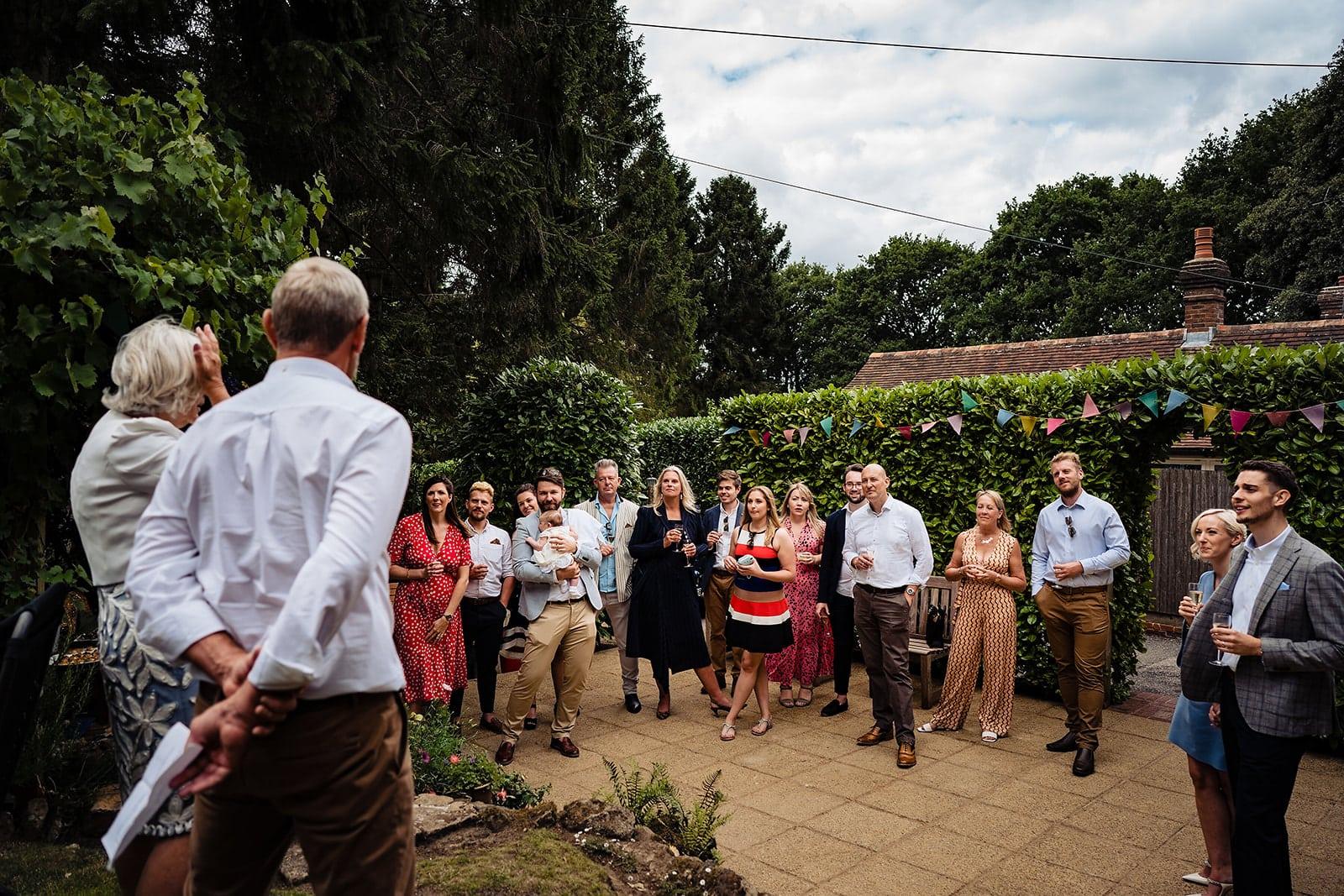 Wedding speeches at a Kent English Garden Covid Micro Wedding