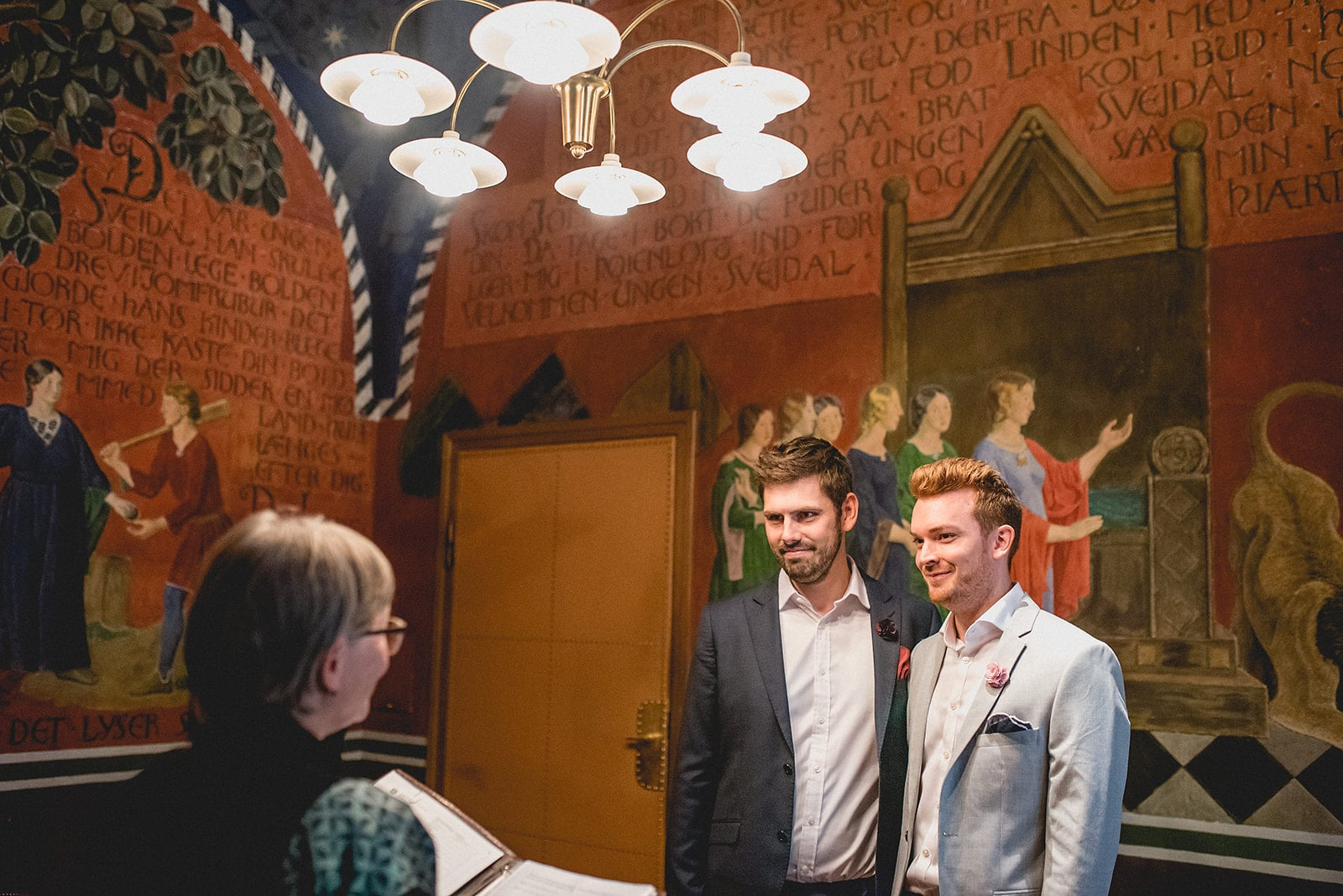 Gay couple elopement wedding ceremony at Copenhagen Rådhus