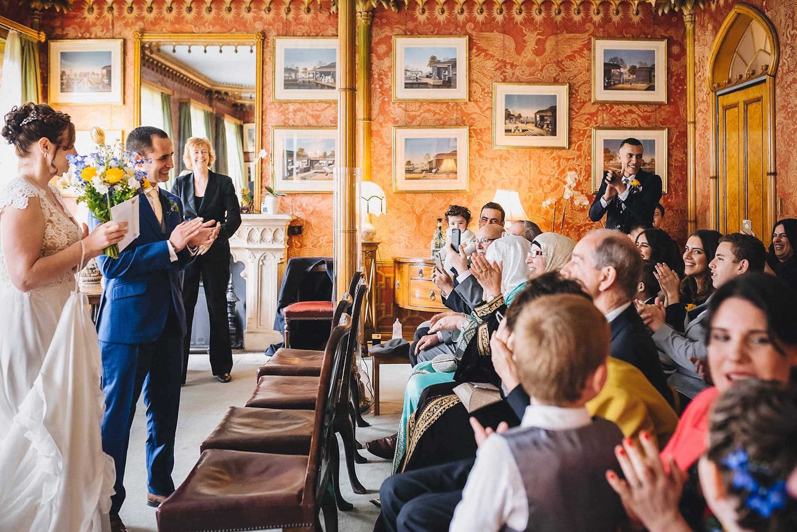 Bride and groom greet their guests at their Micro Wedding Ceremony at the Royal Pavilion Brighton