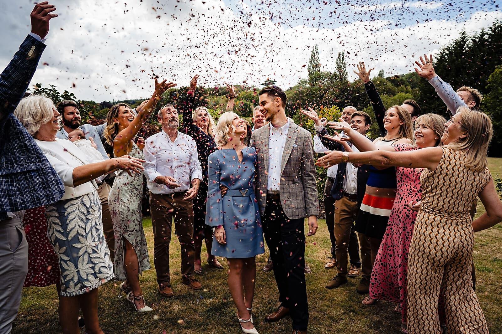 Covid Micro Wedding confetti shower