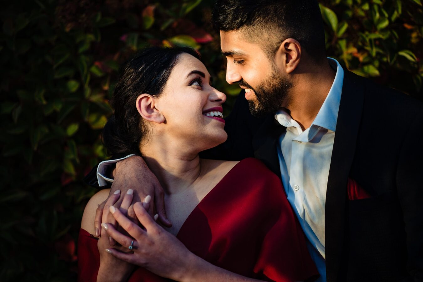 Couple smile and hug at their Hampstead Pergola & Gardens Engagement Shoot | Maria Assia Photography