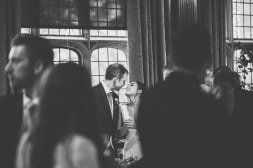 Documentary wedding photography of bride and groom nearly kissing in the Great Hall at Two Temple Place Grand Elegant City London Wedding