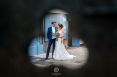 Creative wedding photography of married couple at Windsor Castle