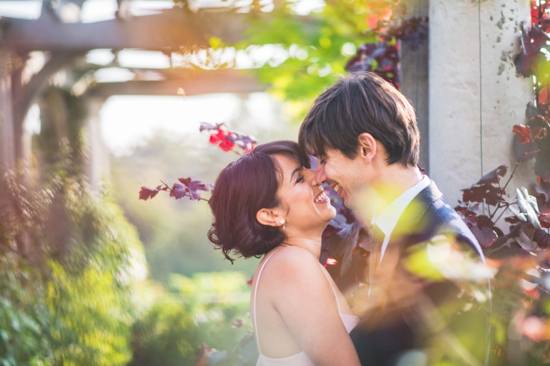 Married couple at the pergola in Hampstead Heath by Best Wedding Photographer Maria Assia Photography
