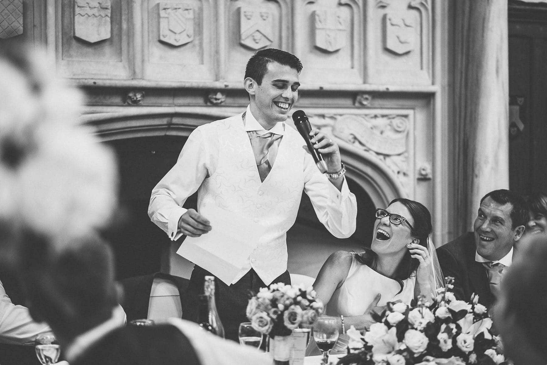 Groom breaking out in song at horsley towers grand hall quirky wedding