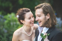 Happy bride and groom at their Hurlingham Club Glamorous Music Themed Chelsea Wedding