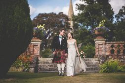 Elvetham Hotel Kilts white lace and red pumps luxury wedding