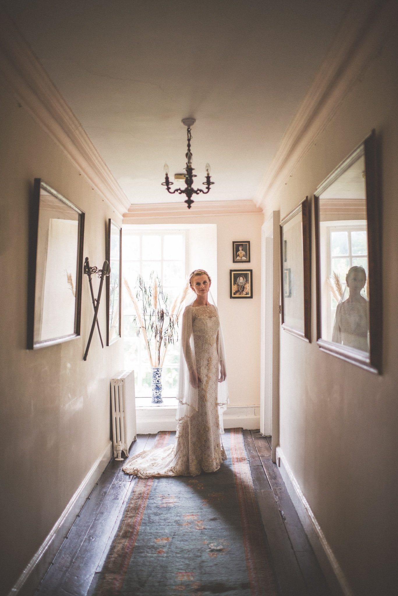Bridal portrait in handmade gown at Smedmore House