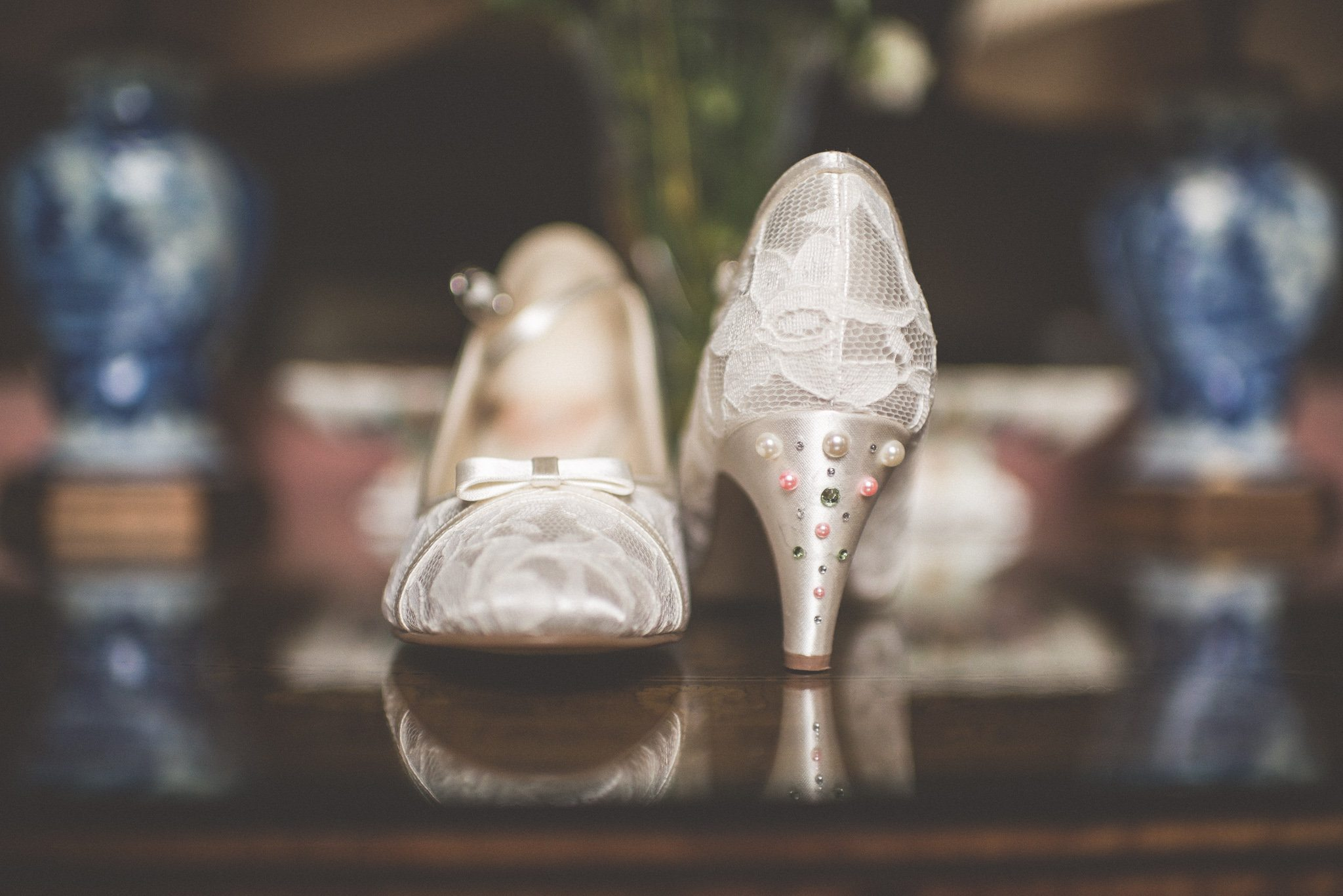 Ivory lace wedding shoes with pearls on the heels