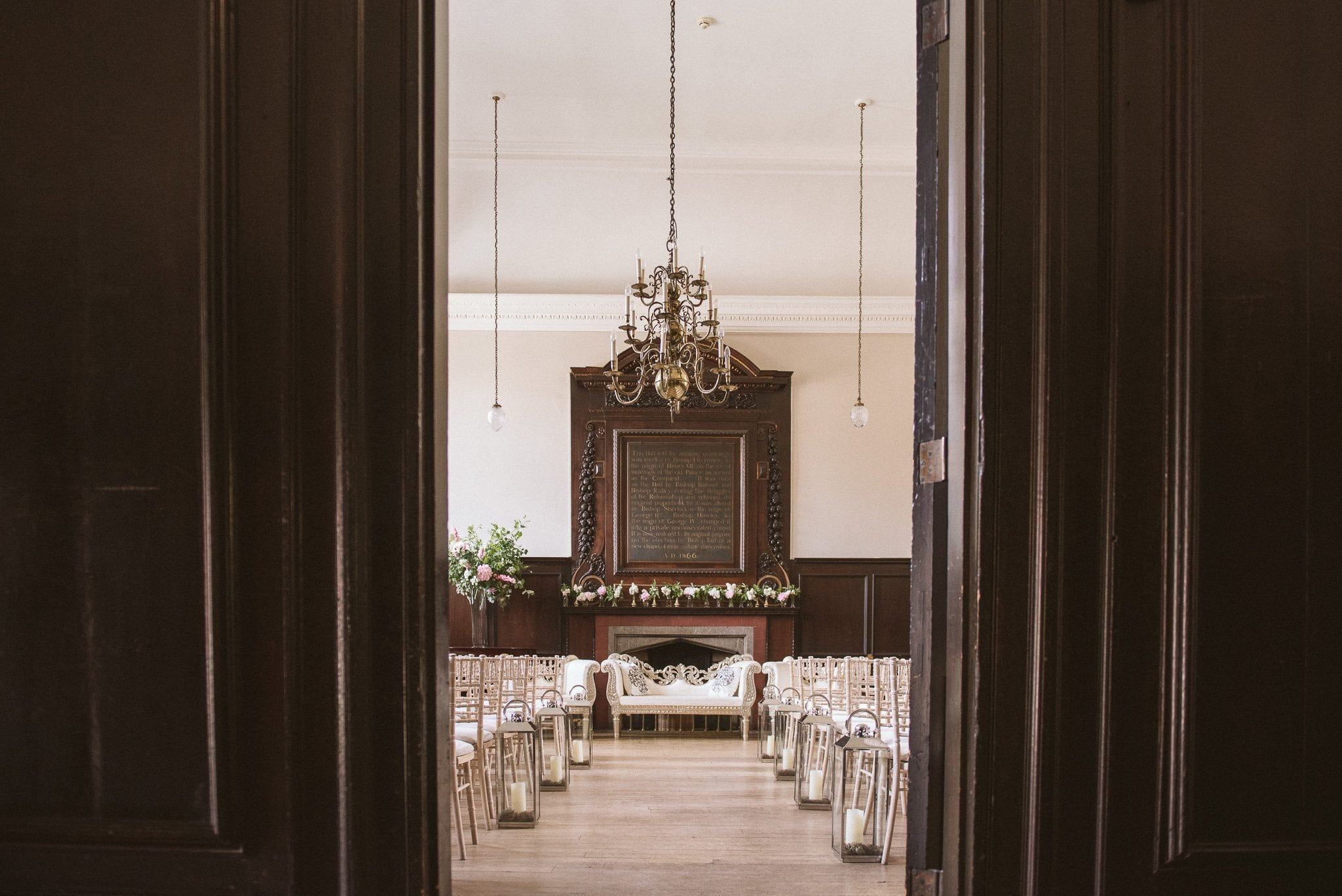 A view through the doors of the ceremony location at Fulham Palace, before the guests arrive