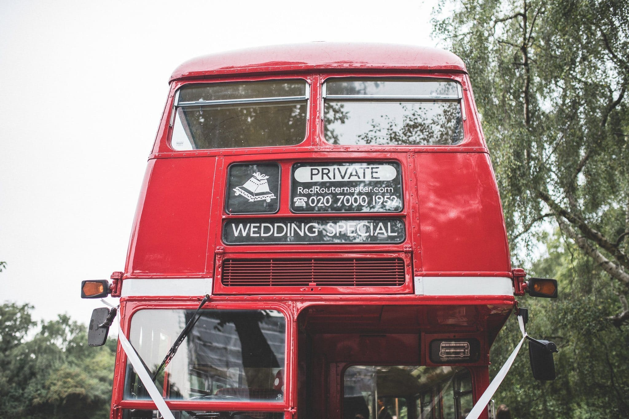 The red routemaster bus that took guests from the ceremony to the reception in central London