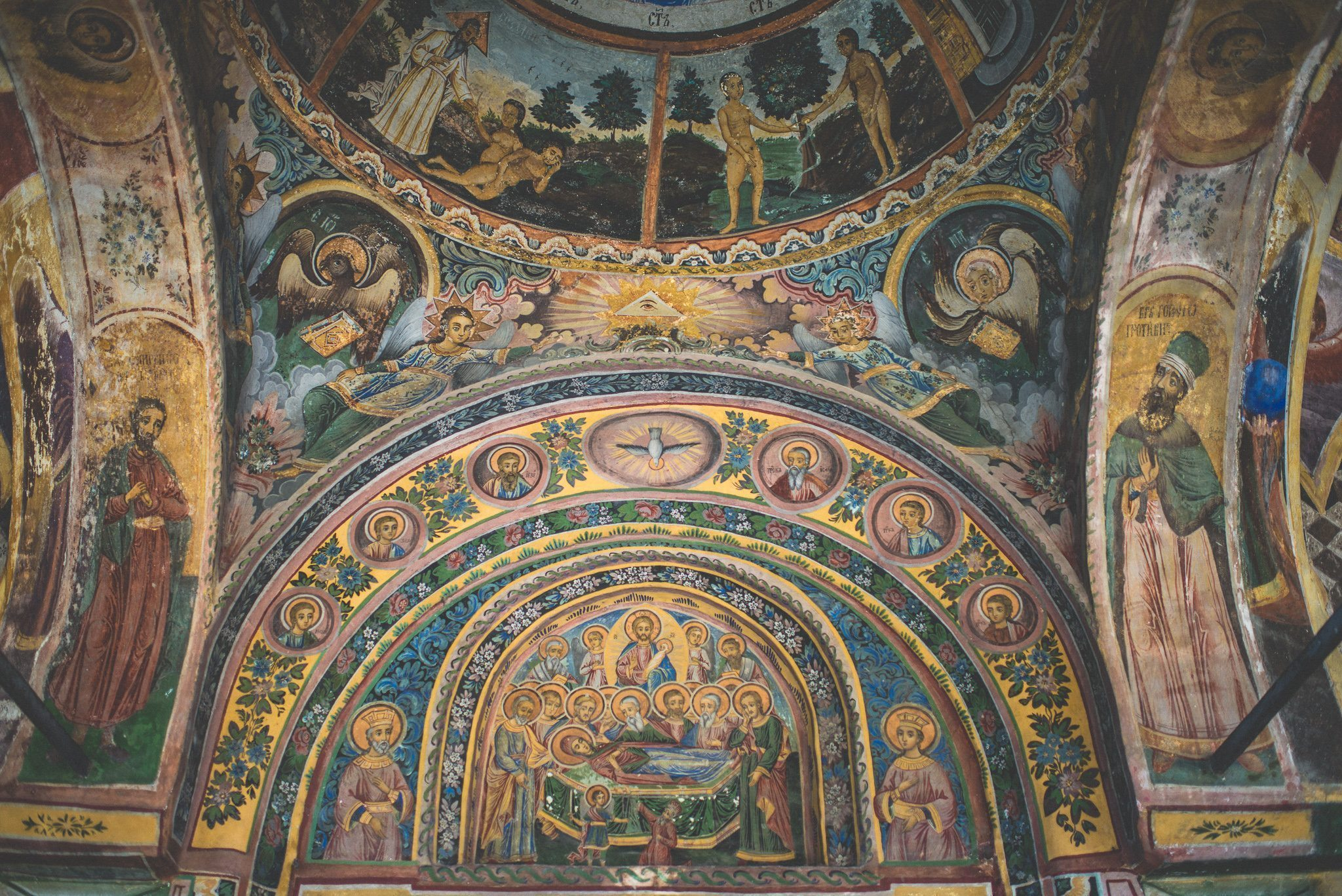 Colourful hand-painted murals at Elisaveta and Martin's Bulgarian monastery wedding
