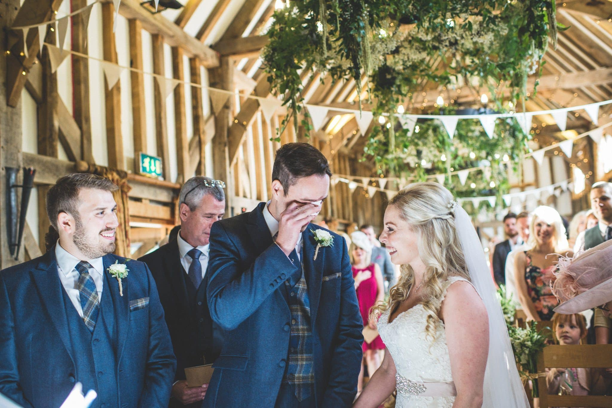 Emotional Groom as the bride reaches the end of the aisle