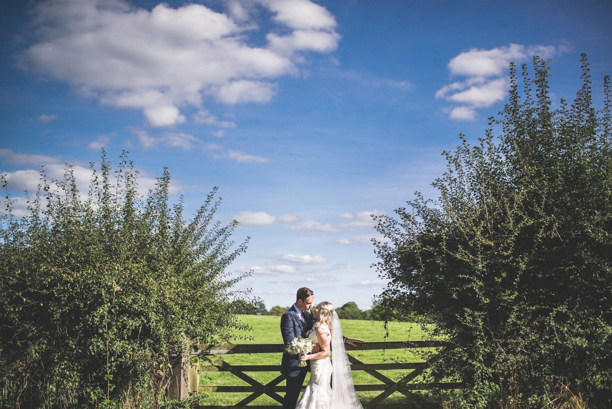 The couple gaze at each other in front of a gate into a field, and the sky above them is a deep blue