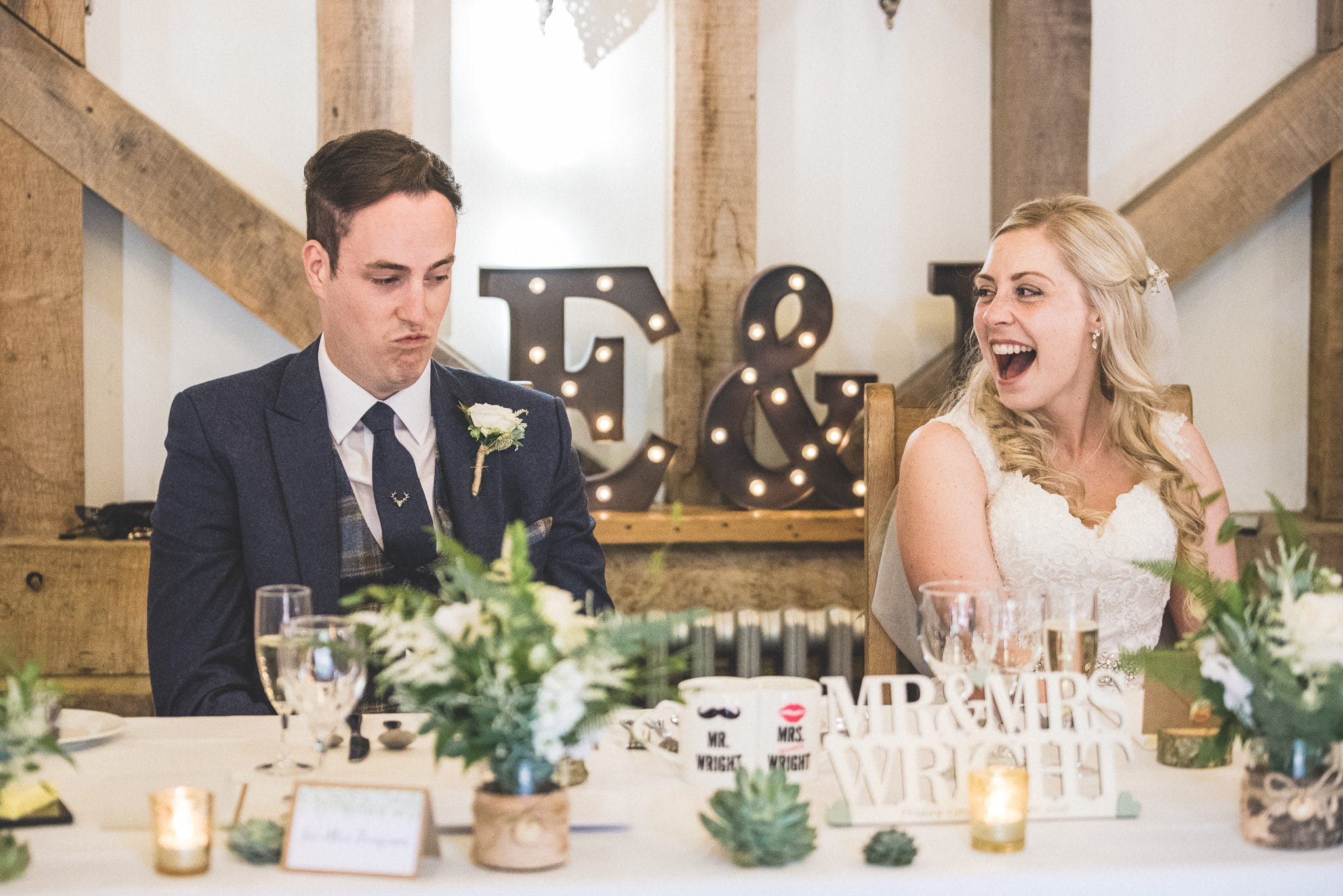 Philip pouts as Emma bursts out laughing during the speeches