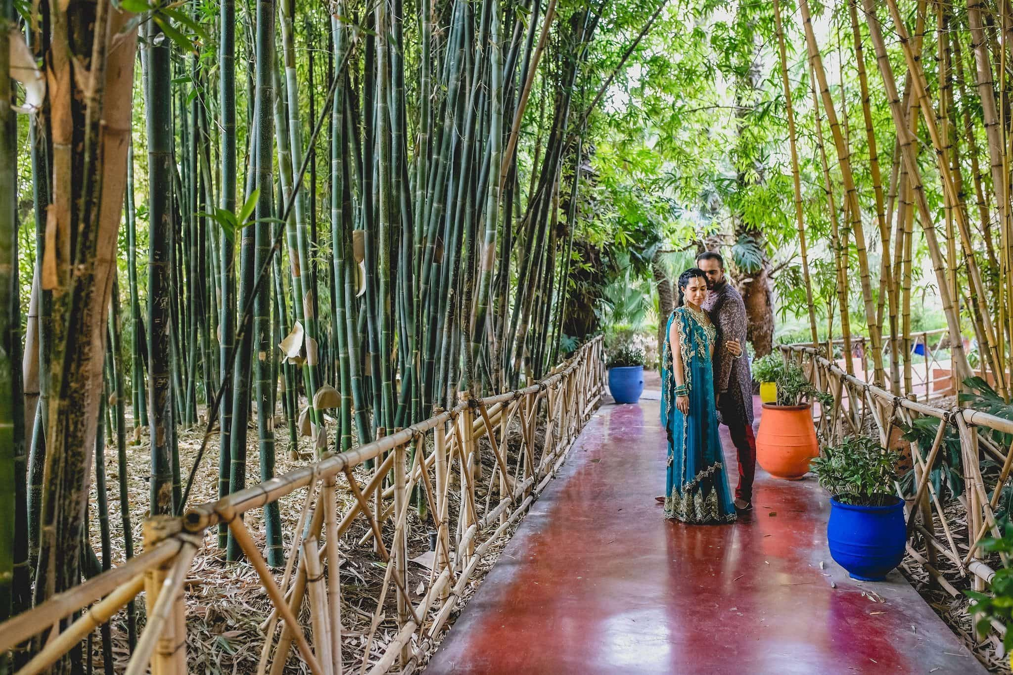 Indian wedding couple at the Majorelle Gardens surrounded by tall Bamboo