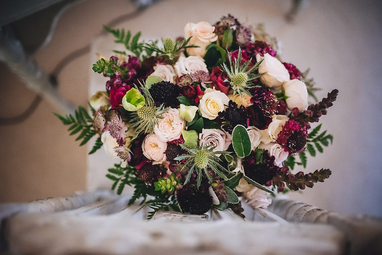 The bridal bouquet by Wild Willow Flowers. Featuring deep plums and pale pinks