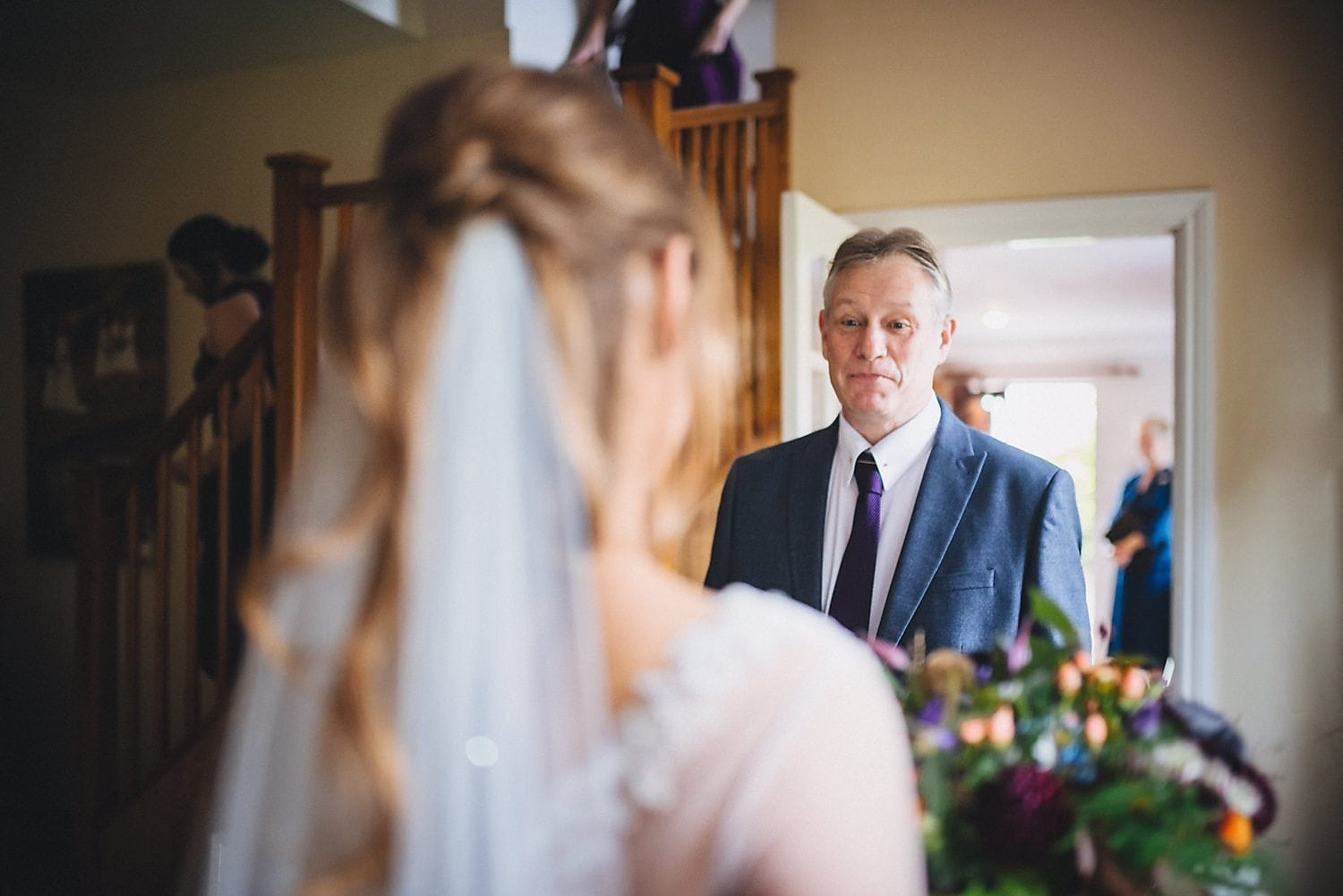 Bride's father sees her in her dress for the first time