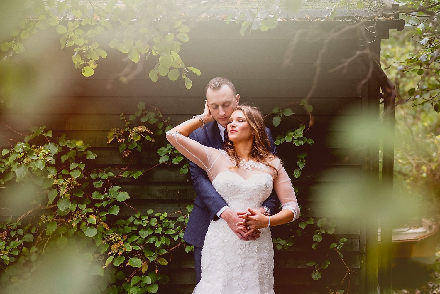 Bride and groom Coltsford Mill wedding portrait