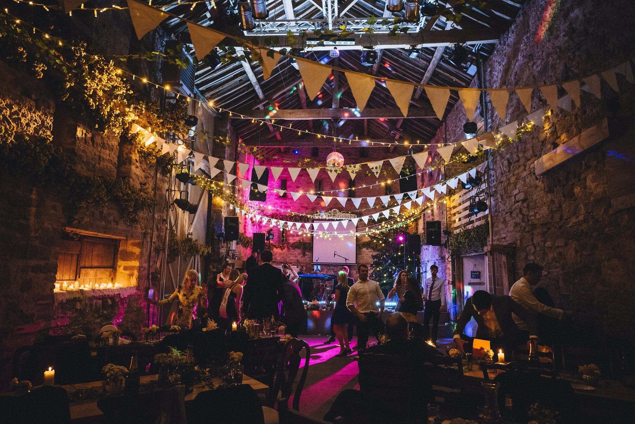 Lyde court winter wedding decorated with bunting and lights