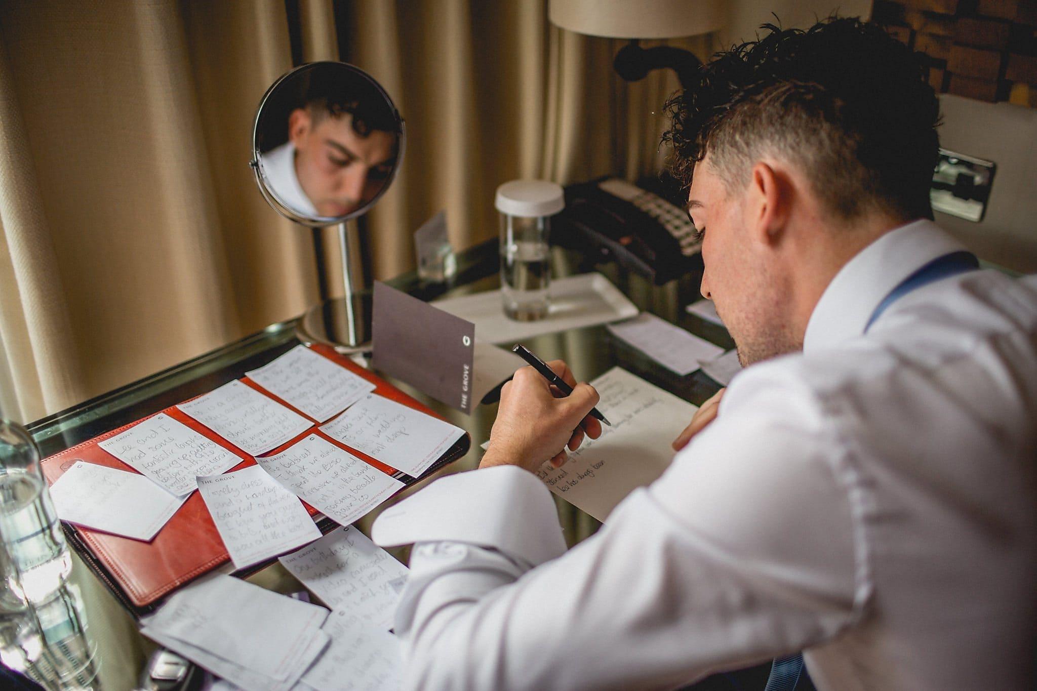 Speech prep in the groom's dressing room
