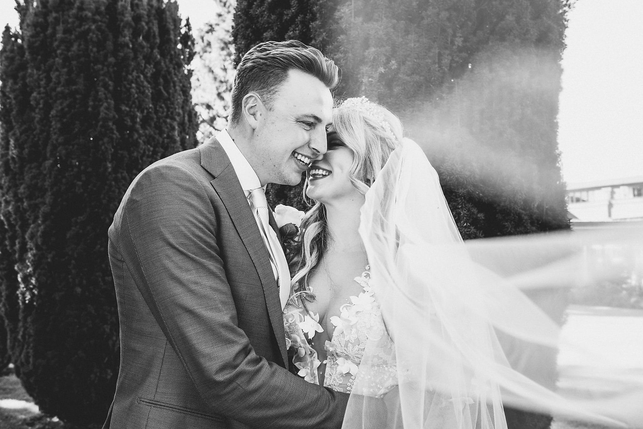 Black and white couple's portrait for an Artistic Wedding at the Grove