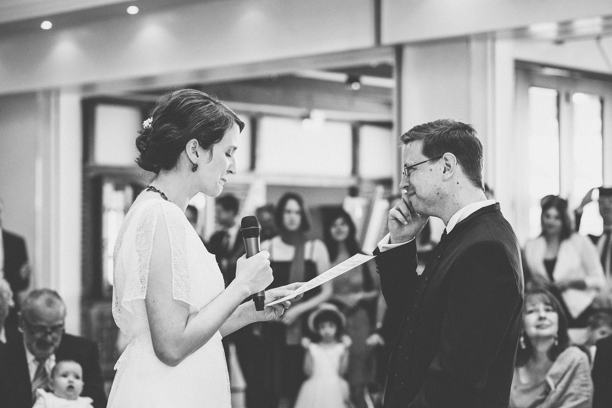 Groom tearing up at the bride's speech | Documentary wedding photography by Maria Assia Photography