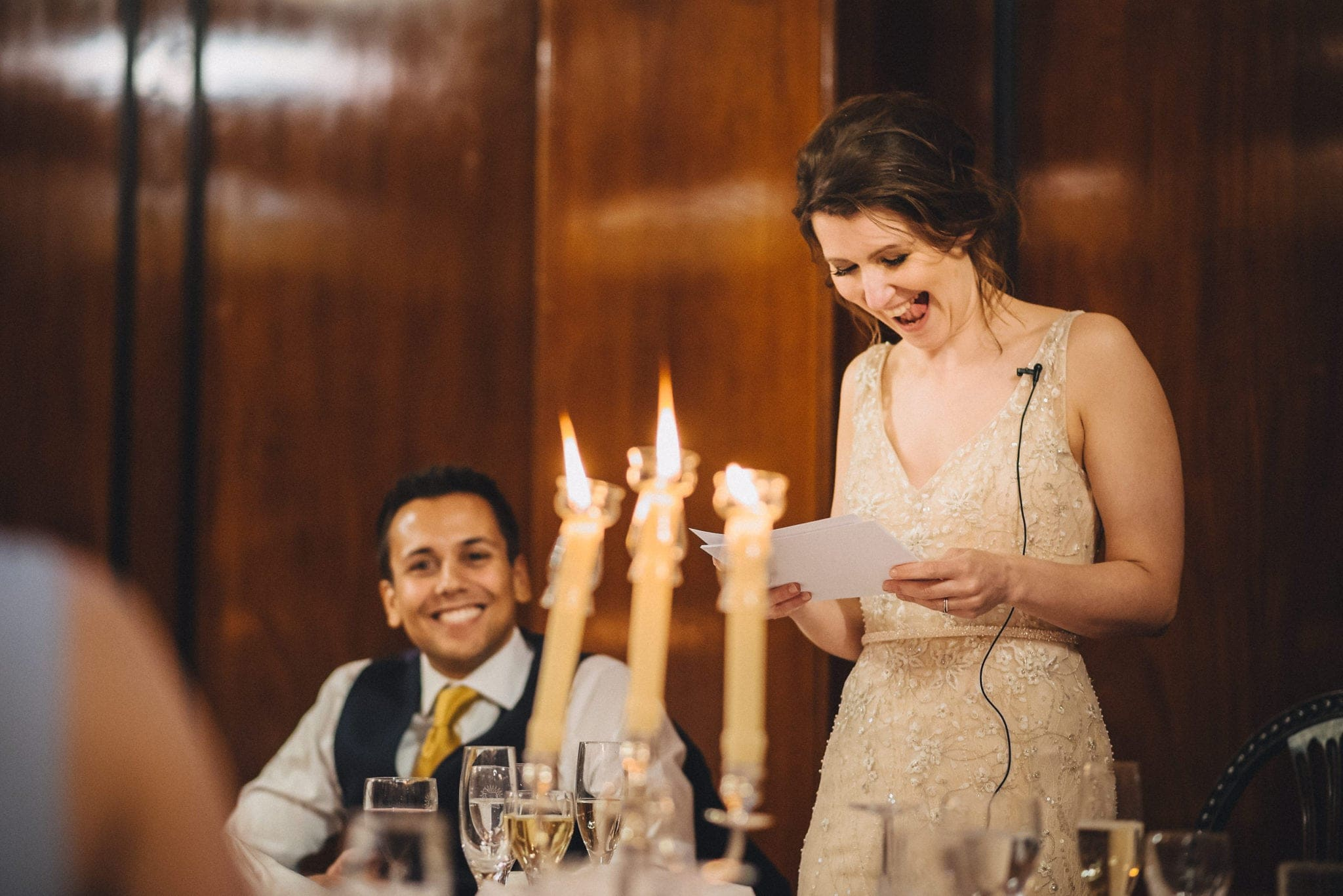 Bride laughs while making speech at relaxed London wedding
