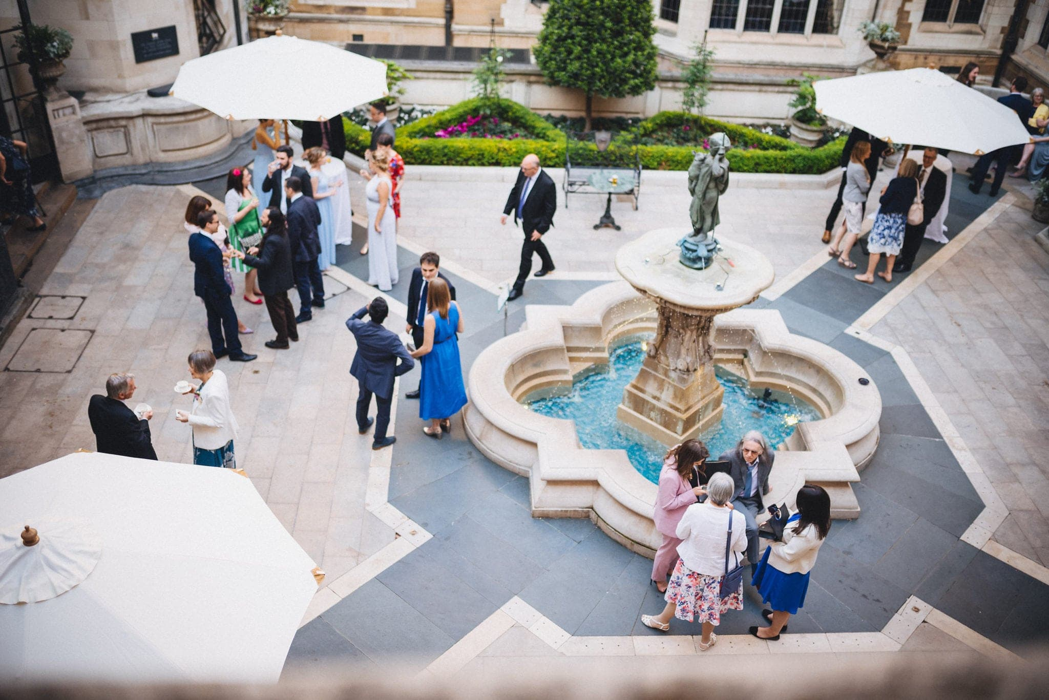 Shot from above overlooking Merchant Taylors Hall courtyard and fountain