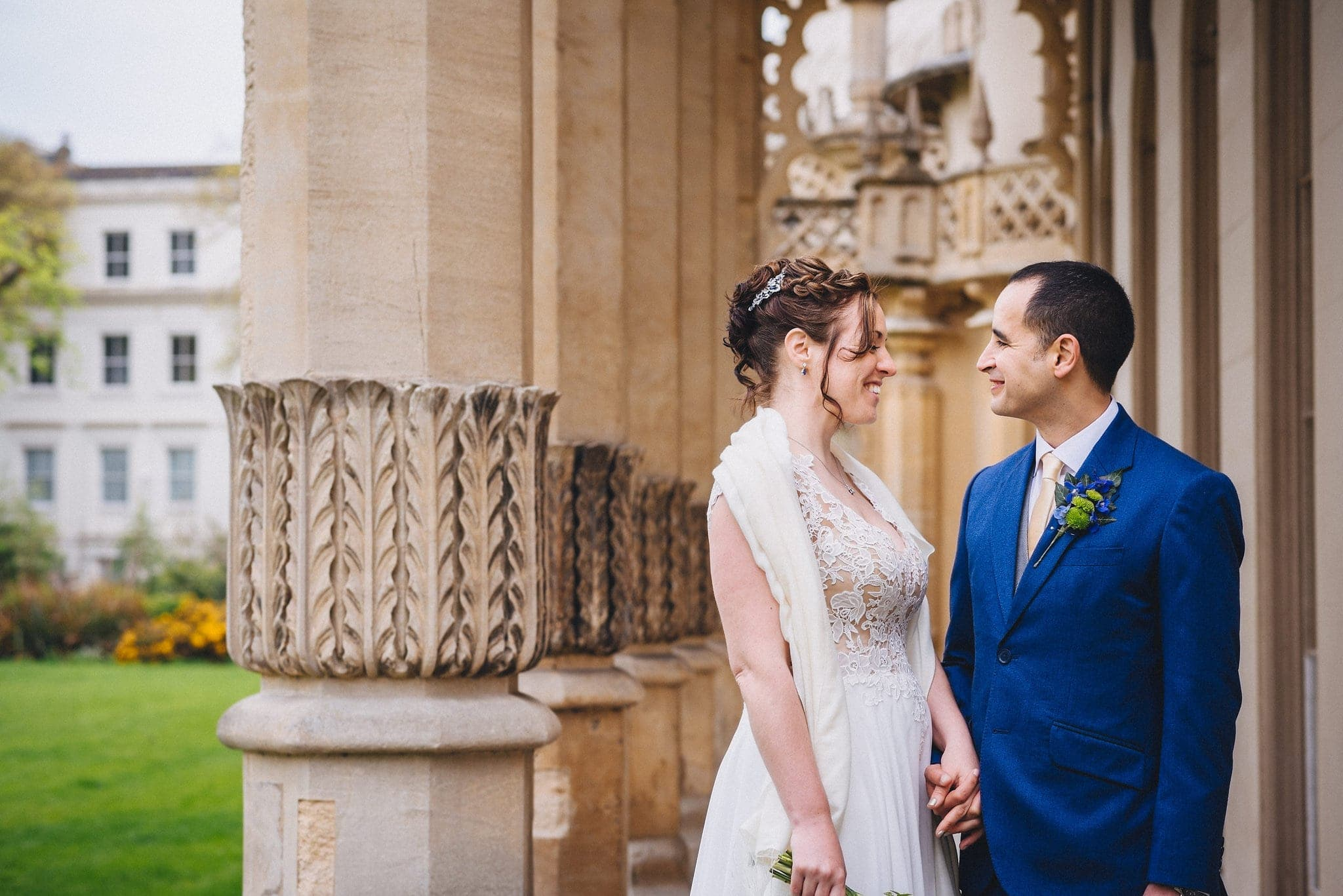 Bride and groom outside Royal Pavilion in Brighton