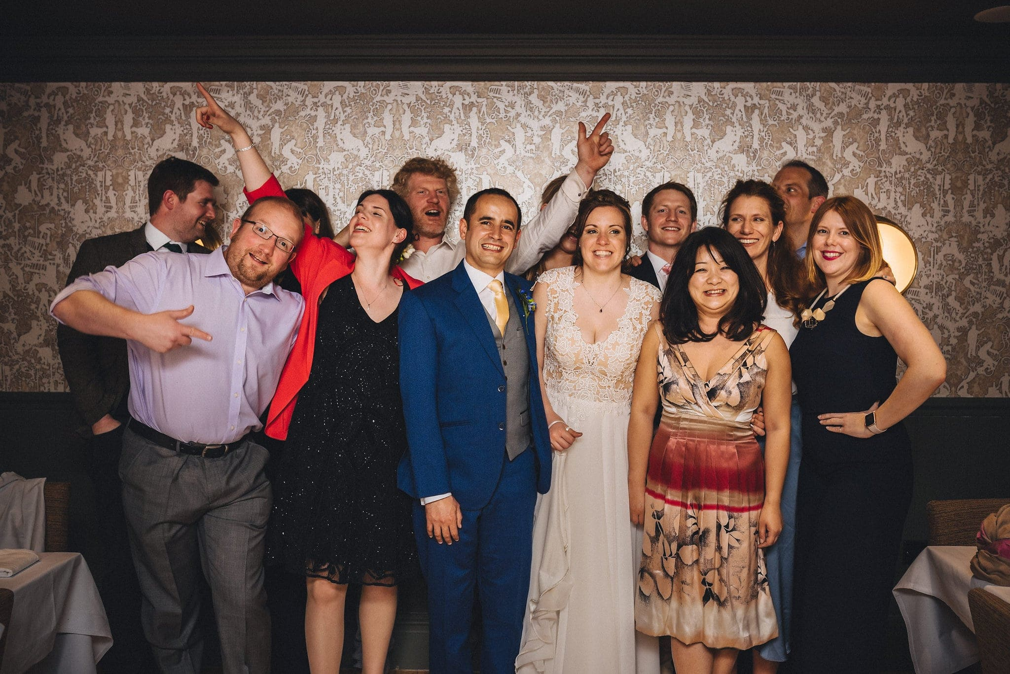 Fun wedding group shot