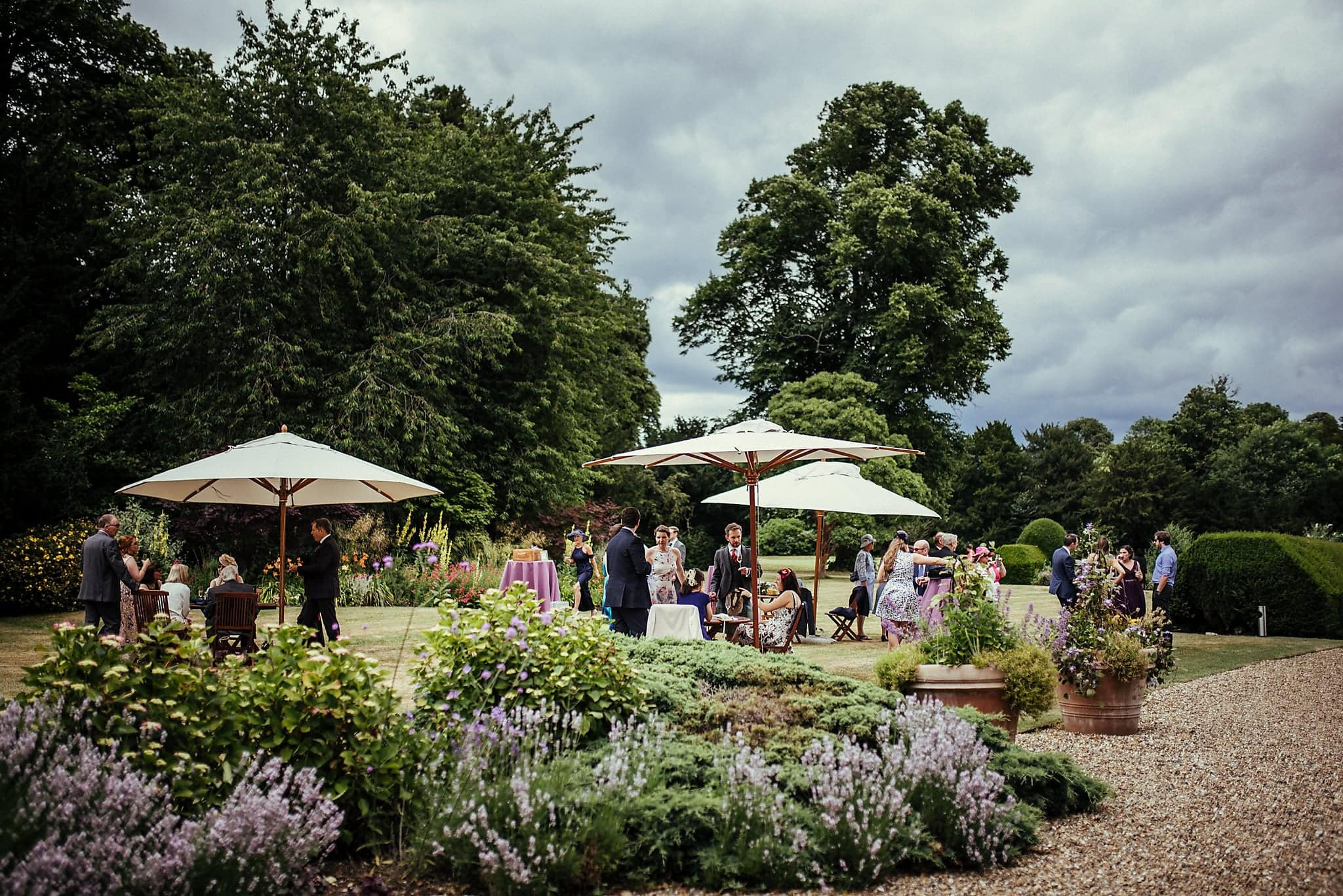 Guests mingle on the lawns at Dorney Court
